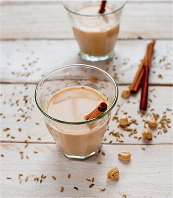 Masala chai, a soothing blend of tea and spices
