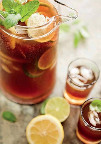 Iced herbal teas and lemonades